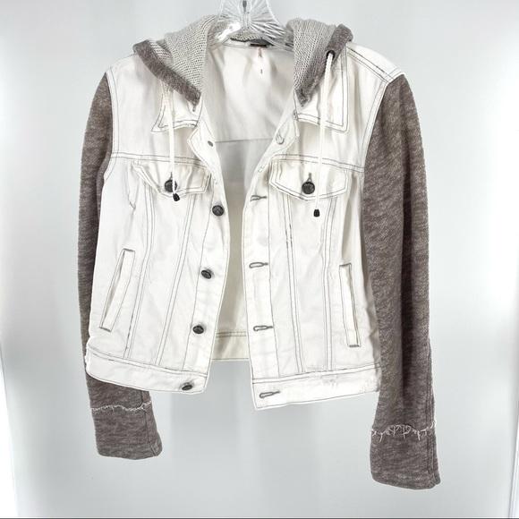Free People Distressed White Denim Jacket